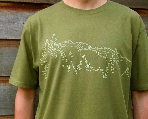 Organic Cotton T-shirt with Mountain Ridge  - Men's Earth Green, Olive