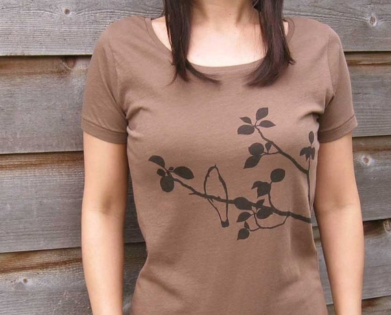 SALE 15% OFF - Organic Cotton T-shirt with Songbird - Women's Scoop Neck in Brown