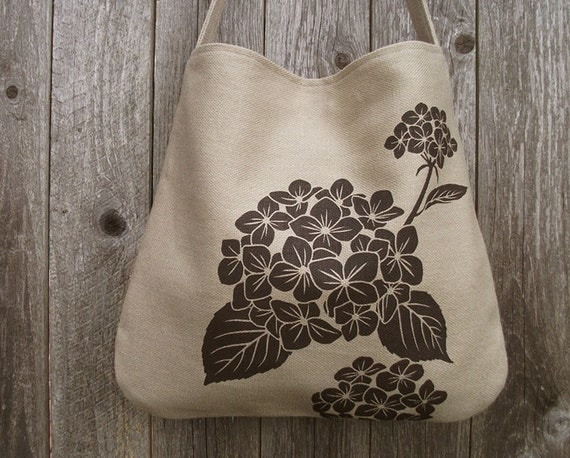 SALE 30% OFF - Hemp Bag with Hydrangea Organic Cotton Lining - Natural, Beige, Taupe