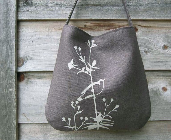 eco friendly hemp bag with songbird on flower charcoal. Black Bedroom Furniture Sets. Home Design Ideas