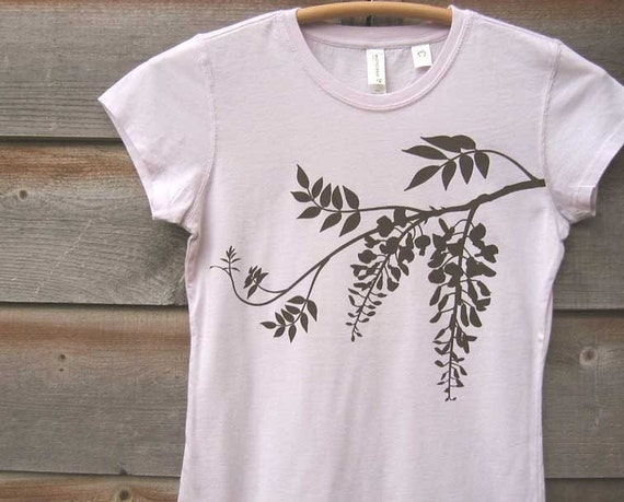 SALE 15% OFF - Organic Cotton T-shirt with Wisteria - Women's Crew Neck Lavender Pink