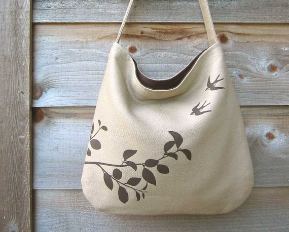 Hemp Bag with Flying Swallows Organic Cotton Lining - Natural, Beige, Taupe