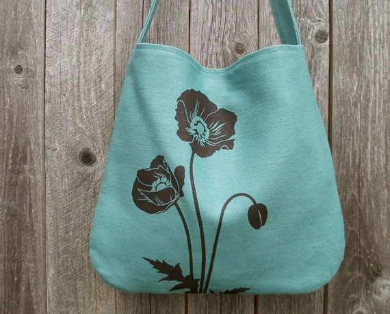 Hemp Bag with Poppies Organic Cotton Lining - Turquoise Blue
