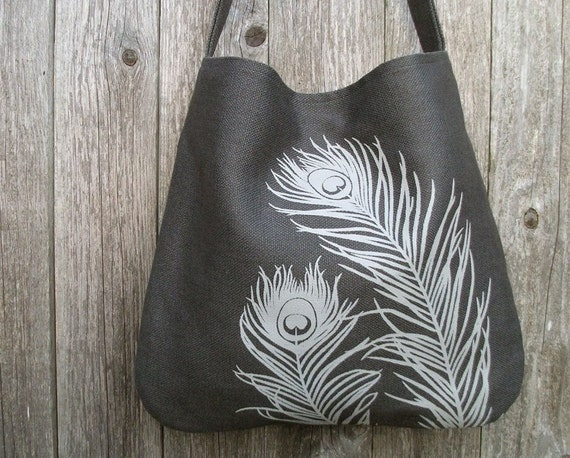 Eco-friendly Hemp Bag with Peacock - Charcoal