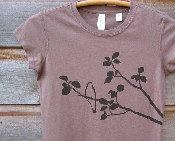 Bird on Tree - Organic Cotton - Womens T shirt - Light Brown S M L XL
