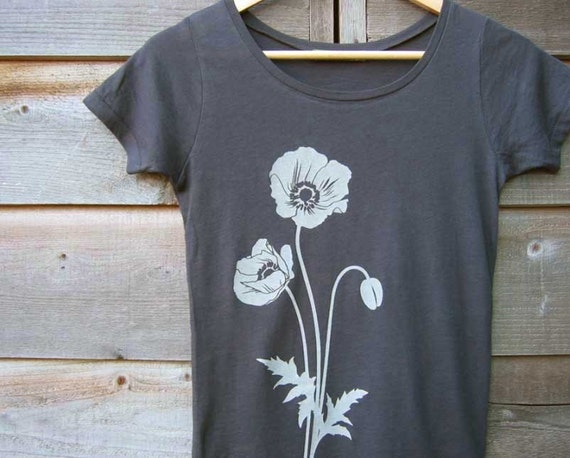 Organic Cotton T-shirt with Poppies - Women's Scoop Neck Grey