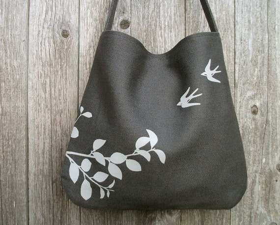 Hemp Bag with Flying Swallows Organic Cotton Lining - Charcoal Grey