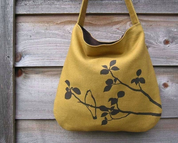 Hemp Bag with Songbird Organic Cotton Lining - Deep Gold Yellow, Mustard