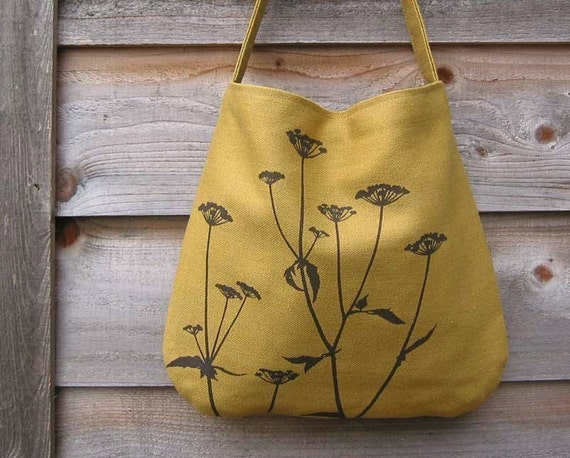 Hemp Bag with Queen Anne's Lace Organi Cotton Lining - Deep Gold Mustard