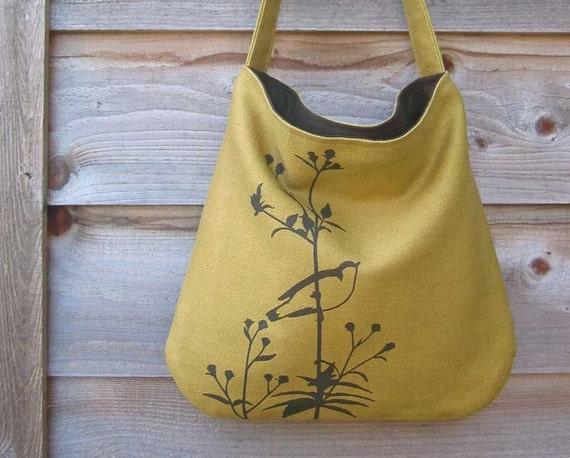 Eco-friendly Hemp Bag with Songbird on Flower Organic Cotton Lining - Deep Golden Mustard