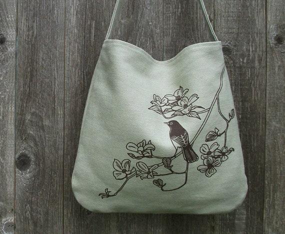 SALE 30% OFF - Hemp Bag with Songbird on Dogwood Organic Cotton Lining - Light Green, Bamboo, Sage