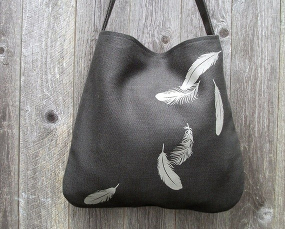 Hemp Bag with Falling Feathers Organic Cotton Lining - Charcoal Gray