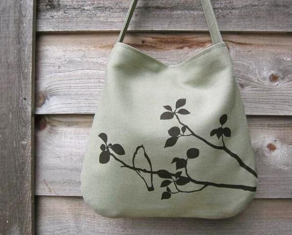 SALE 30% OFF - Hemp Bag with Songbird Organic Cotton Lining - Light Green, Bamboo, Sage