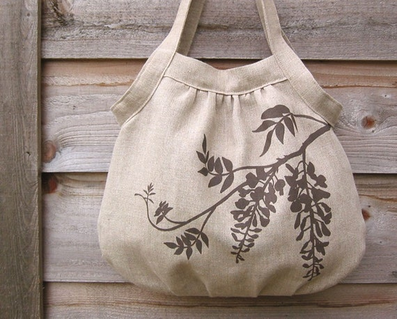 Eco-friendly Hemp Gathered Bag with Wisteria Blossoms (Natural)
