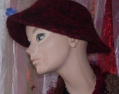 Red and Black Felted Hat