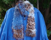 Handknit Blues and Browns Scarf
