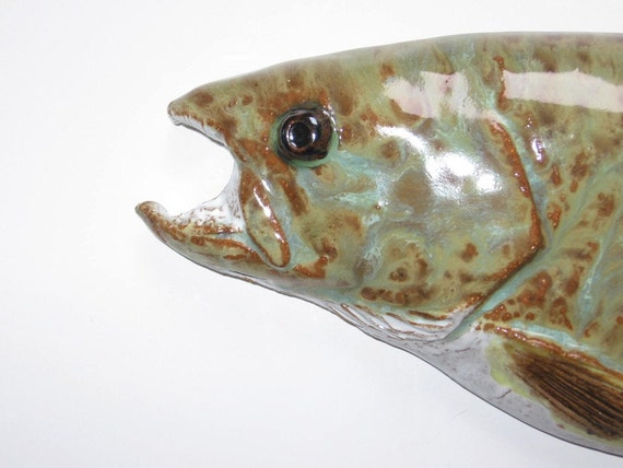 Whimsical trout ceramic art fish decorative wall hanging