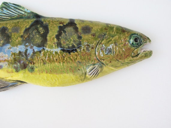 Ceramic fish trout art decorative wall hanging