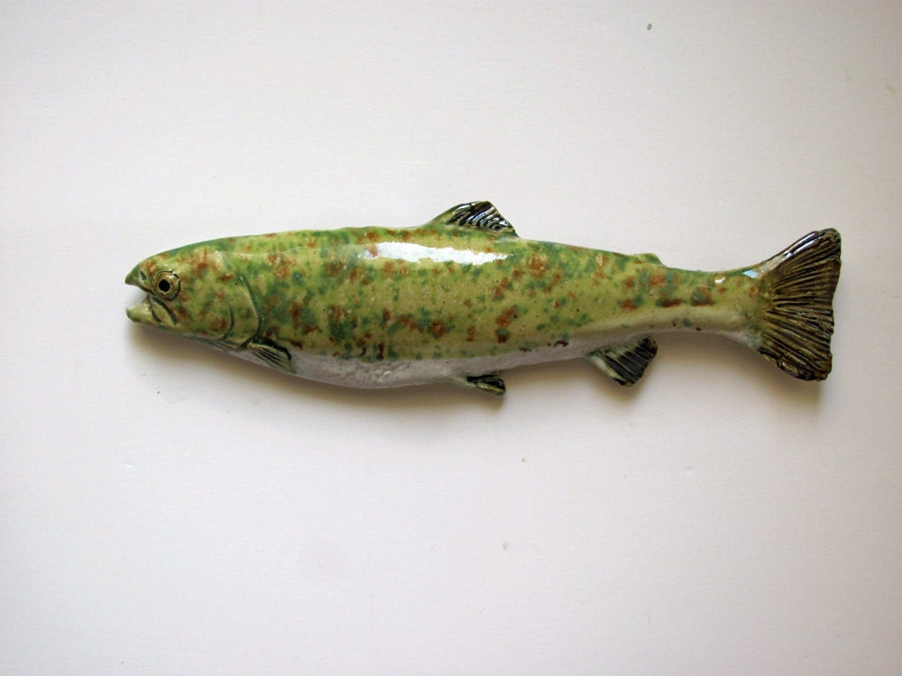 Ceramic art trout decorative fish wall hanging for Fish wall decor