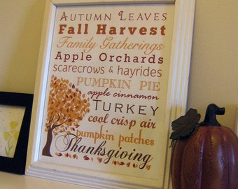 Autumn Thanksgiving Subway Art Printable Wall Art by BitsyCreations Instant Download