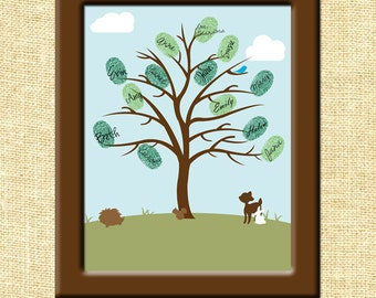 Thumbprint Baby Shower Printable Tree Wall Art INSTANT Download