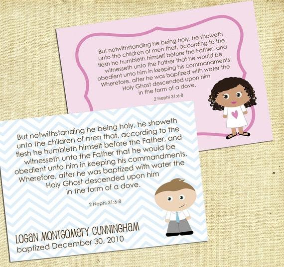 Printable Kidlet LDS Baptism Keepsake Printable Instant Download