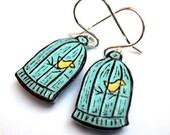 Caged Bird Dangle Earrings