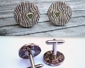 FREE Shipping til 2013 - Personalized  Initials Faux Bois Wood Grain Cufflinks - Wood You Love Me