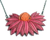 Coneflower  Necklace  - Pink and Orange Flower Jewelry