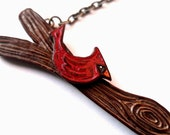 Tree branch with Red Cardinal Bird Necklace - Out on A Limb Series- The Gentleman