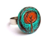 Turquoise and Rust Red Rustic Tree Ring - Tree Hugger