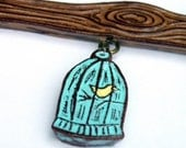 Tree Branch with Bird Cage Necklace - Woodland Woodgrain Faux Bois