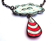 Red and White Raincloud Necklace with Raindrop Necklace - Candy Cane Rain
