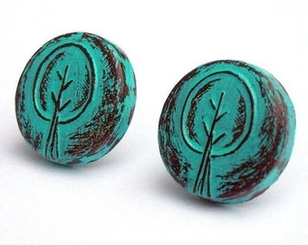 Turquoise Retro Tree Stud Earrings, Rustic Tree Post Earrings, Tree Button Earrings, Woodland Jewelry, Teen Gift, Gift for Her, Wife Gift