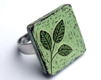 Mint Green Leaf Ring, Rustic Botanical Ring, Adjustable Ring, Plant Ring, Square Ring, Girlfriend Gift, Wife Gift, Anniversary Gift