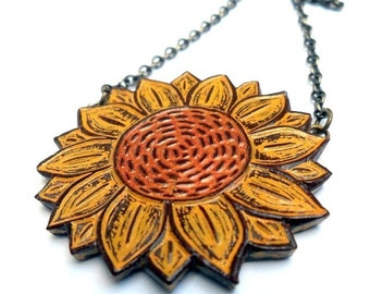 Rustic Sunflower Necklace, You Are My Sunshine, Mustard Yellow and Metallic Copper
