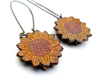 Mustard Yellow and Copper Sunflower Dangle Earrings - You Are My Sunshine