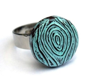 Pastel Blue Woodgrain Faux Bois Ring - Against the Grain