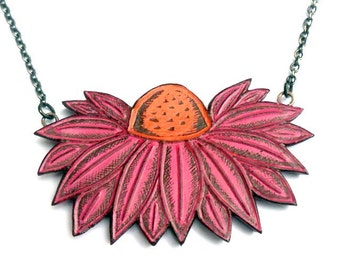 Pink Coneflower Necklace, Pink and Orange Flower Jewelry, Echinacea Flower Necklace, Garden Lover Gift, Herb Necklace, Botanical Pendant