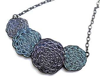 Springtime Chrysanthemum Flowers Necklace - Lavender, Blue and Periwinkle Mum Flowers - Serenity