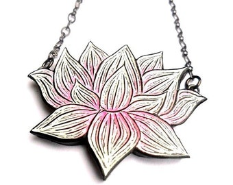 Pink and White Lotus Flower Necklace