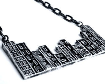 Black and White Cityscape Necklace -  My Block
