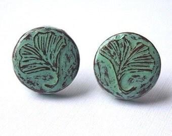 Sage Green Gingko Leaf Earrings, Ginkgo Leaf Post Earrings, Ginkgo Stud Earrings, Ginkgo Button Earrings, Ginkgo Leaf Jewelry, Wife Gift