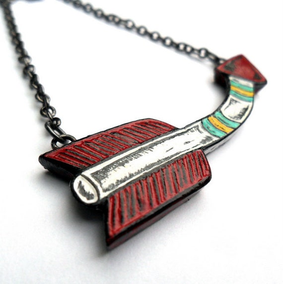 Red, White, Turquoise and Yellow Bent Arrow Necklace