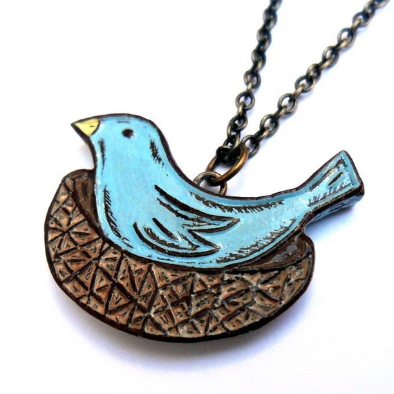 Mother Blue Bird Necklace, Mama Bird Pendant, Pastel Blue Bird Necklace, Blue Bird Jewelry, Bird Nest Pendant, Mom Gift, Mother's Necklace