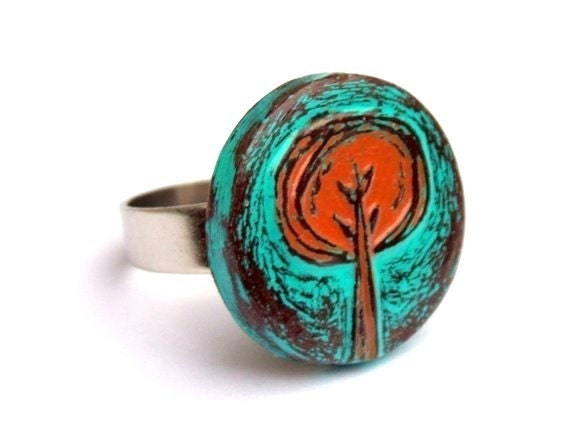 Turquoise and Rust Red Tree Ring, Retro Tree Ring, Tree Hugger Gift, Rustic Tree Adjustable Ring, Gift for Her, Girlfriend Gift, Wife Gift