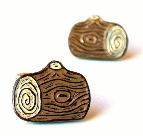 Log Cufflinks, Lumber Jack Cufflinks, Woodgrain Cufflinks, Faux Bois Cufflinks, outdoorsman Gift, Woodworker Gift, Groom Gift, Husband Gift