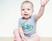 Green Bike on Heather Gray Baby One Piece Bodysuit- Bicycle