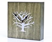 Tree Clock- 6 inch Antique Green Hand Screen-printed Wood Clock