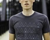 Camp T-Shirt, Charcoal Grey Men's Tshirt, Screenprinted Camping Tents, Geometric Design, Gray
